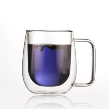 Wholesale Customized World Unique Borosilicate Double Wall Clear Glass Coffee Cup With Handle