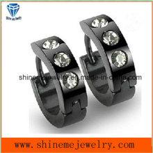 White Crystal Stainless Steel Black Earrings
