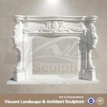 cheminée en marbre avec des statues d'ange