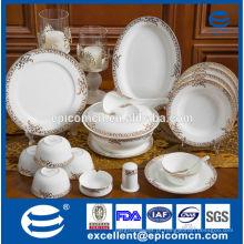 86pcs luxuoso padrão de ouro nova louça de porcelana china com sopa tureen