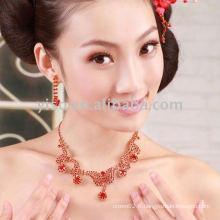 Ensemble de bijoux en mariage rouge