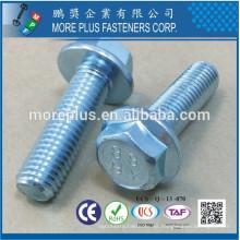 Hecho en Taiwán C10B21 Zinc plateado CR3 + DIN6921 Pernos de brida hexagonal de sangría de hilo completo