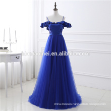 2017 Top Quality Luxury Royal Blue Backless Spaghetti Strap Sequins Chiffon Evening Dress