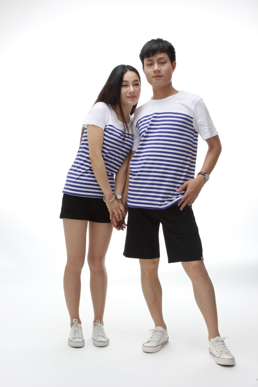 Striped short sleeves