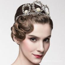 Europe Crown Tiaras Bijoux Tall concours Crown 14k en or blanc diamant Ring Tiaras