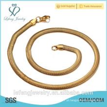 Moda Design 24k banhado a ouro 316 aço inoxidável 5 milímetros cadeia colar de cobra