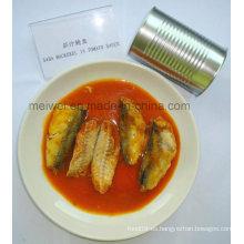 Alimentos saludables 425g de caballa en salsa de tomate