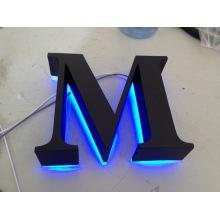 Letras de señalización metálica Vintage cepillado brillante retroiluminada LED canal iluminado 3D Letras signos para publicidad personalizada