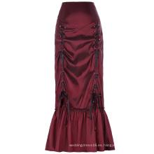Estilo vintage victoriano retro de la vendimia de las mujeres de Belle Poque N / T falda larga acanalada del vino del taffeta BP000208-2