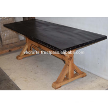 Mesa de jantar de base de madeira com rebite metálico industrial