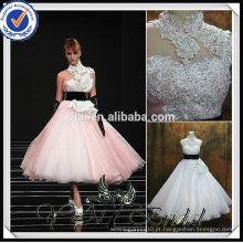 RSW478 Puffy saia chá comprimento rosa e branco vestidos de noiva
