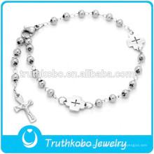 Venda quente católica oração bead rosário 316 aço inoxidável virgem maria jesus crucifixo rosário pulseira para senhora