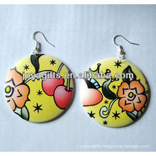 red wooden earring Printing Jesus earring round shape