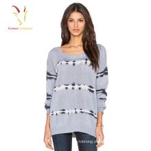 Senhoras loosr tricotar suéter de cashmere de lã tricô padrão