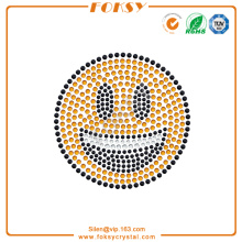 Grinning Face emoji rhinestone transfers iron on