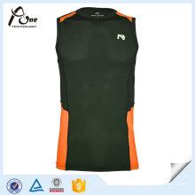 Mesh Orange Black Men Gym Vest de secagem rápida Gym Wear