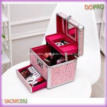 Linda de color rosa pequeño tamaño de aluminio de viaje de joyería caso (saccom052)