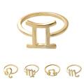 Gold Color Zodiac Sign Finger Ring Stainless Steel Horoscope Ring