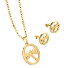 Красивая Персонализированные Шарм ожерелье комплект ювелирных изделий золото ожерелье и Кулон для женщин
