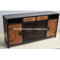 Industrial Metal Side Board, Reclaimed Railway timber Panels and Drawer