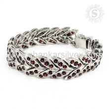 Attractive design garnet gemstone silver bracelet jewelry wholesaler 925 sterling bracelets silver jewellery