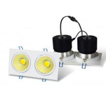 LED Downlight - 2 x 20w COB - Caixa quadrada