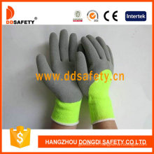 Gants fonctionnants de ligne de piquage de fibre acrylique jaune de fluorescence (DKL443)