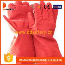Guantes de soldador de cuero dividido vaca roja (DLW635)