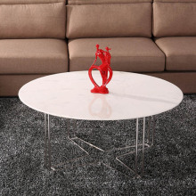 Marble round top stainless steel cross leg coffee table