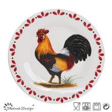 Assiette ronde en porcelaine de poulet en céramique