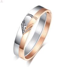 Pulsera grabada personalizada del brazalete del nombre del corazón de acero inoxidable del corazón inoxidable