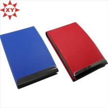 Tarjetero de cuero de negocios para pareja Tarjetero azul y rojo