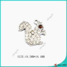 Crystals Zinc Alloy Metal Squirrel Charm (SPE)