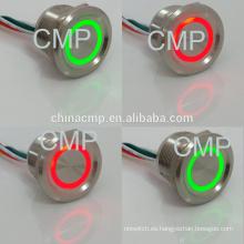 Impermeable IP68 12 v 24 v Dual led color Rojo Verde anillo de ojo de Ángel Interruptor Piezo Iluminado Metal Anti Vandal Interruptor de Botón Pulsador