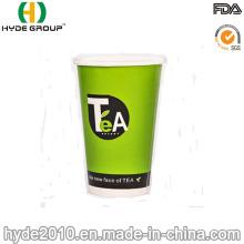 Copo de papel quente impresso costume do logotipo 8oz, copos de papel de parede dobro