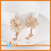 Fashion Flower Earring ,Double Heart Gold Earring