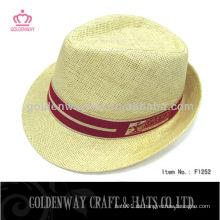 Weißes Werbepapier Stroh Fedora Hut und Mütze mit benutzerdefinierten Design Druck Logo