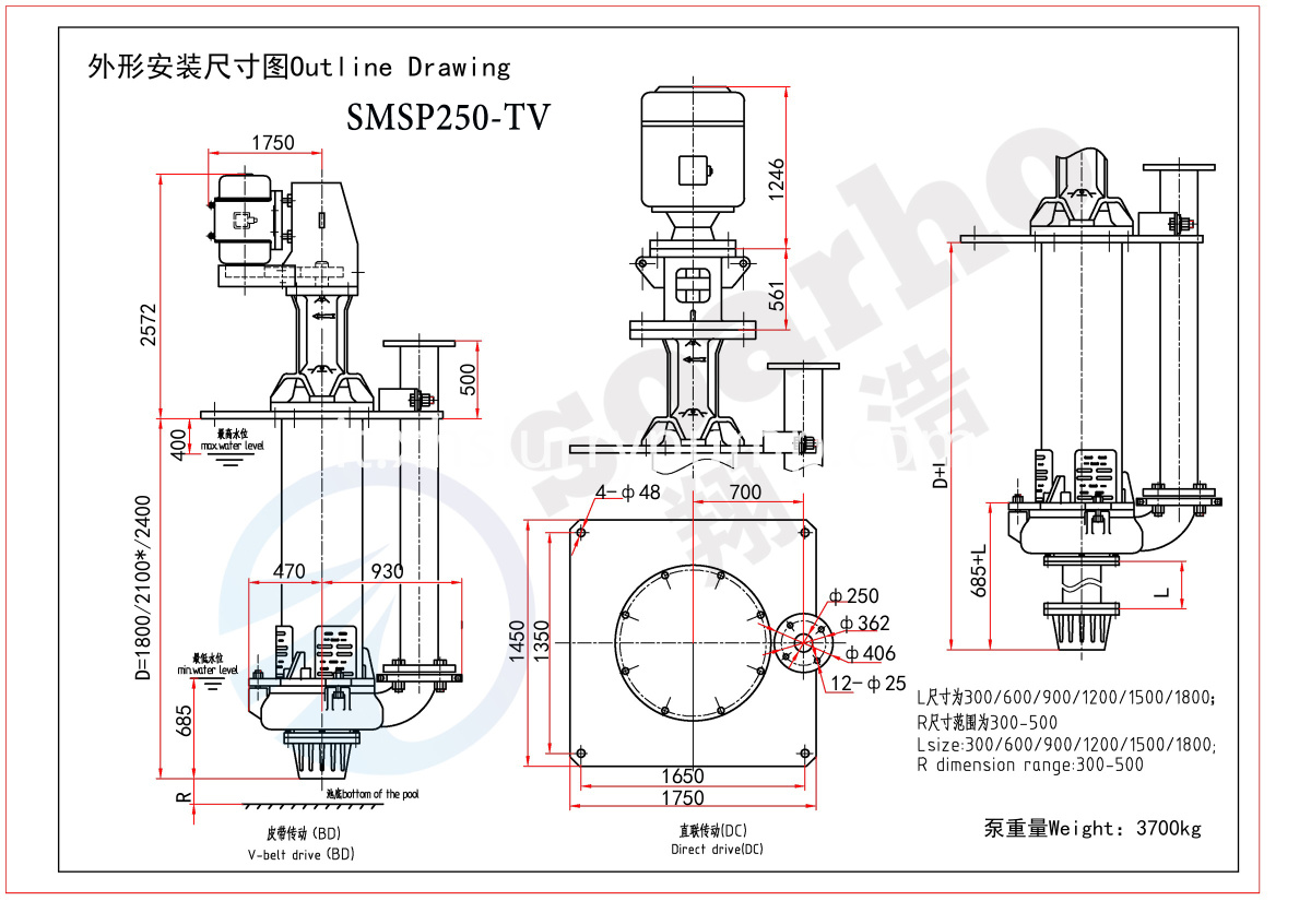 SMSP250-TV outline drawing