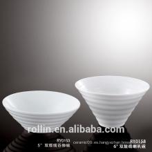 Venta al por mayor Juego de vajilla de restaurante porcelana ensalada Bowl Blanco sopa Bowl con logotipo personalizado