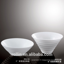 Ensemble de vaisselle de cuisine en gros Ensemble de soupe de porcelaine Bol à soupe blanche avec logo personnalisé