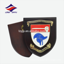 Solid logo shield shape wooden award plaque