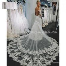 Vestidos de boda de marfil de la manga larga de encargo de la nueva de la manera de la alta calidad del tren de la catedral del cordón del cordón MW968