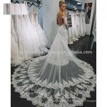 High Quality New Fashion Custom Size Cathedral Train Lace Mermaid Ivory Long Sleeve Wedding Dresses MW968