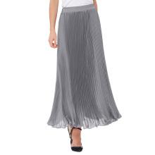 """Kate Kasin Retro Vintage verano plisado gris plata Maxi falda larga 40 """"KK000614-3"""