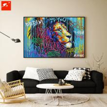 Handmade Colorful Lion Portrait Oil Painting