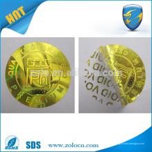 Autocollant anti-contrefaçon de l'hologramme doré / argenté