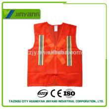 Orange Erwachsenen mesh reflektierende Sicherheitsweste mit Reißverschluss und reflektierende Gurtband