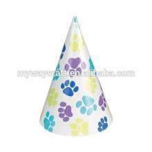 children party decoration happy birthday paper hat in red spotted pattern