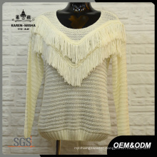 Women Fashion Fringe White Swaeter