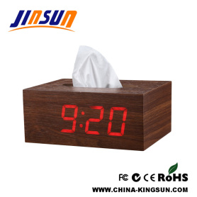 Homeware Tissue Box With Led Clock Wooden